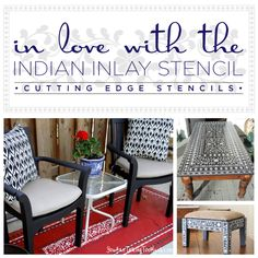 Three great DIY home decor projects that use the Indian Inlay Stencil from Cutting Edge Stencils. http://www.cuttingedgestencils.com/indian-inlay-stencil-furniture.html >> #furniturestenciling #furniturepainting #furniture     #stencils #cuttingedgestencils #stenciling #stencilpatterns