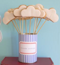 Cloud Cookies: great idea; Axel's airplane birthday cake, cookies & pops