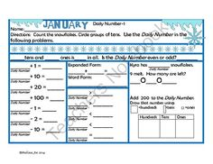 2nd Grade January Daily Number from Melissa Joe on TeachersNotebook.com -  (27 pages)  - Students count a winter theme object and use that number in problems including:  Problem Solving  Adding and Subtracting Ones, Tens and Hundreds  Expanded Form  Word Form  Greater Than, Less Than, Equal To