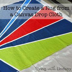 How to Create a Rug from a Canvas Drop Cloth via LivingWithLindsay.com