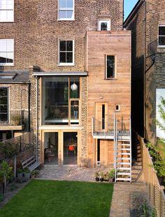 Kilburn Nightingale remodels Hackney townhouse and adds sweet-chestnut joinery. kilburn nightingal, hackney townhous