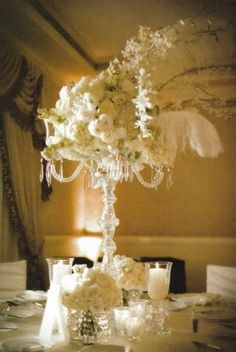 crystals, arrang flower, idea, flower centerpieces, vintage, head tables, blog, feathers, parti