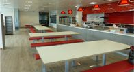Modern Restaurant expansion& refurbishment, Interior Design Services. Bespoke servery counter, condiments, tables, benches and recycling area