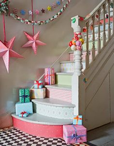 pastel, home interiors, country home interior, christmas decorations, christmas stairs, stair risers, selina lake, christmas staircase, country homes