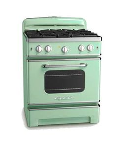 I would LOVE a vintage mint green stove like this!