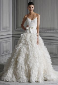 Gorgeous Monique Lhuillier #Wedding #Dress with feather skirt - see more of the #Bird Wedding Trend at this Pinterest board