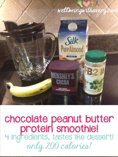 Peanut Butter Chocolate Smoothie--4 ingredients, tastes like a Reeses but all natural and healthy :)