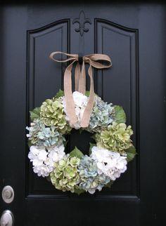 Wreaths - Hydrangea Wreath -  Wreaths for All Seasons - Spring Hydrangeas - Spring Wreaths - Hydrangea Blooms. $85.00, via Etsy.