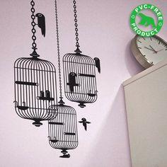 living rooms, birdcag sticker, bird cage, bedroom walls, wall decals, birdcages, bird theme, wall stickers, birds