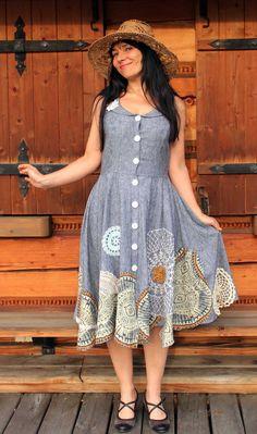 LInen and lace appliqued romantic dress