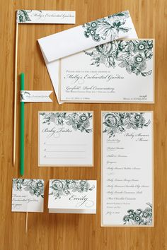 Enchanted Garden Accessories. Delightful banners, food flags, invitations, games, favor tags and place cards for the baby shower.