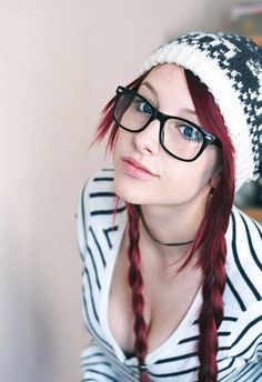 Girl With Glasses Long Red Braids