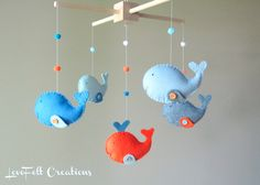 Baby Crib Mobile - Custom Baby Mobile - Whale Mobile - Zoology Whale - You can pick your colors :). $95.00, via Etsy.
