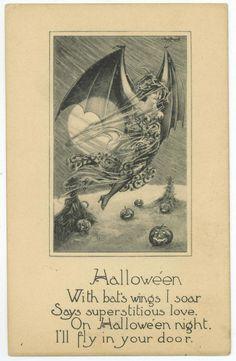 doors, vintag halloween, vintage halloween, halloween postcard, halloween night, halloween cards, bats, bat wing, owls