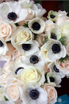 pink roses, color, wedding bouquets, weddings, pale pink, black white, wedding flowers, floral, anemones