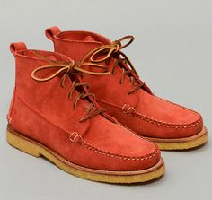 "RANCOURT & CO. : ""The Grey Boot"" 5-Eyelet Suede Moccasin Boot, Red, Hickoree's Exclusive"