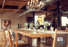 Our wedding decor included LOTS of lavender, baby's breath, lace, burlap, floating candles and mason jars.
