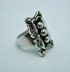 Vintage Georg Jensen Floral Ring #62, Size 5, Sterling Silver $650.00 Condition: fine vintage, preowned Year: 1933-44 Size: 5 - can be resized for free  Inv. #: 120512150