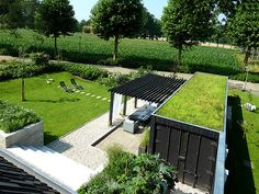 """Storage container against fence with """"green"""" roof."""