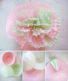 cupcake liners, cupcake wrappers, cupcake bouquets, mothers day, cupcake holders, diy tutorial, paper flowers, flower tutorial, parti