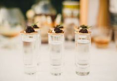 Mini shooters from Abbey Road Catering. Styled shoot by Gibson Events. Photo by Josh McCullock Photography. #wedding #cheers #shots