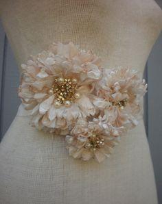 wedding sash bridal belt with three flowers. $75.00, via Etsy.
