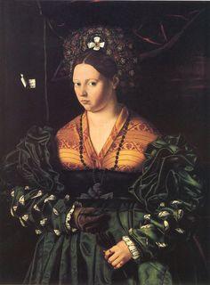 """1530 """"Портрет женжины в зелёном платье"""" \Бартоломео Венето"""