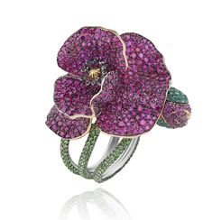 Flower ring in platinum, set with rubies, tsavorites, emeralds and colored diamonds, part of Chopard's 2013 Red Carpet Collection. Photo courtesy of Chopard