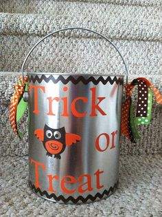 Personalized Owl Halloween Bucket for Boy or by 2LittleBirdsShop, $22.00