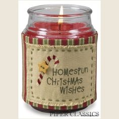 Homespun Wishes Jar Candle Wrap - Add a touch of folk-art whimsy to any standard jar candle. Hand embroidered and appliquéd, wraps attach at back with Velcro. #simple rustic art #christmas candle