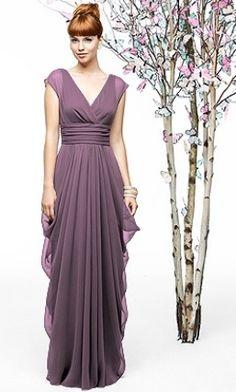 Dessy:  short sleeved long lavender bridesmaid dress