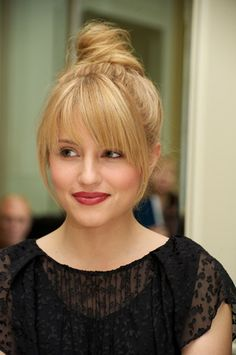 Long bangs and a top knot.  Wearable for any occasion....I wish I could figire out how to get these bangs! :-/