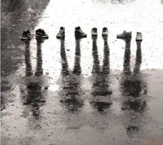 shoe reflection people