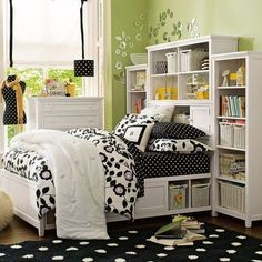 You could really do this yourself with shelves as headboards, just take out the bottom shelving and slide the mattress inside. girl room, headboard, beds, dorm room, color, kid rooms, small bedroom, dream bedrooms, shelv