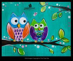 paint bar, owl paint, owls paintings