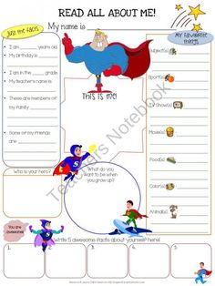 All About Me Superhero product from Jasons-Classroom on TeachersNotebook.com