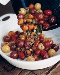 Skillet-Charred Cherry Tomatoes with Basil .