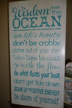 WISDOM from the OCEAN, Hand Painted, Wood Sign, Wall Decor,Ocean, Quotes, Sea, Inspiring, Unique on Etsy, $35.00