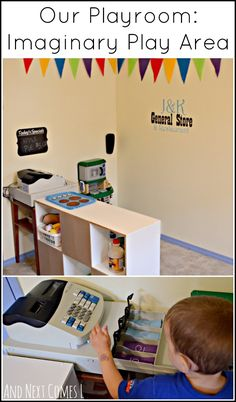 Playroom idea: imaginary play area with kitchen, homemade felt food, real cash register, and more! from And Next Comes L