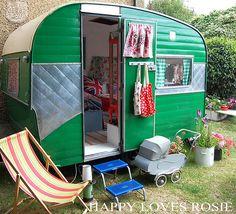 Vintage caravan in the garden