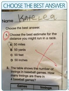 • daughter of ultrarunner got this question wrong on test lol •