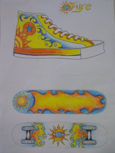 Sneaker & Skateboard - branding design - Year 5,6,7 - great way to engage the older kids, especially the boys!
