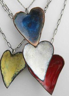 Glazed hammered heart necklaces