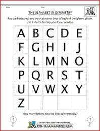The Alphabet in Symmetry, identify lines of symmetry in letters of the alphabet