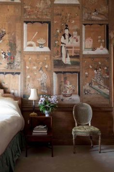 decor, interior, country houses, room paper, english country, chinese painting, paintings, bedroom wall, chinoiseri