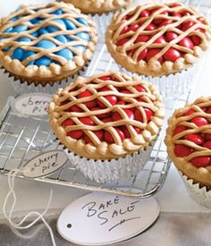 Sweet as Pie Cupcakes - red or blue m & ms, frosting with cocoa powder to make it look like pie crust - very cute. Bake sale, church/class party, family get-together.