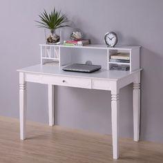 Home Loft Concept Elegant Desk with Hutch in White