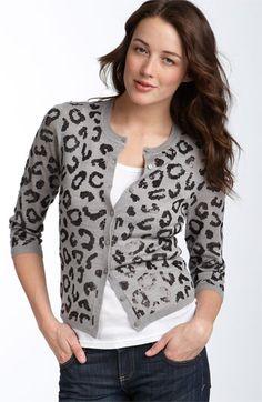 Halogen® Sequin Leopard Print Cardigan | Nordstrom