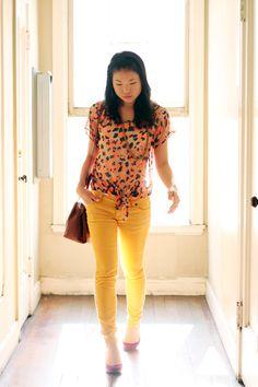 sheer top + yellow skinnies