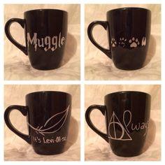 Harry Potter inspired coffee mug set black by KynasKreations, $30.00